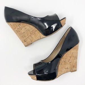 X-Apparel Gloss Black Peep Toe Sandal Wedge